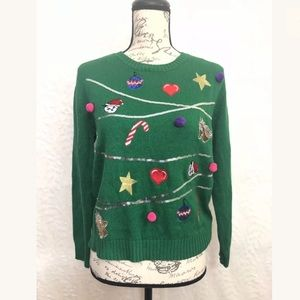 H&M Christmas Ugly Sweater Knit Green Pullover Top
